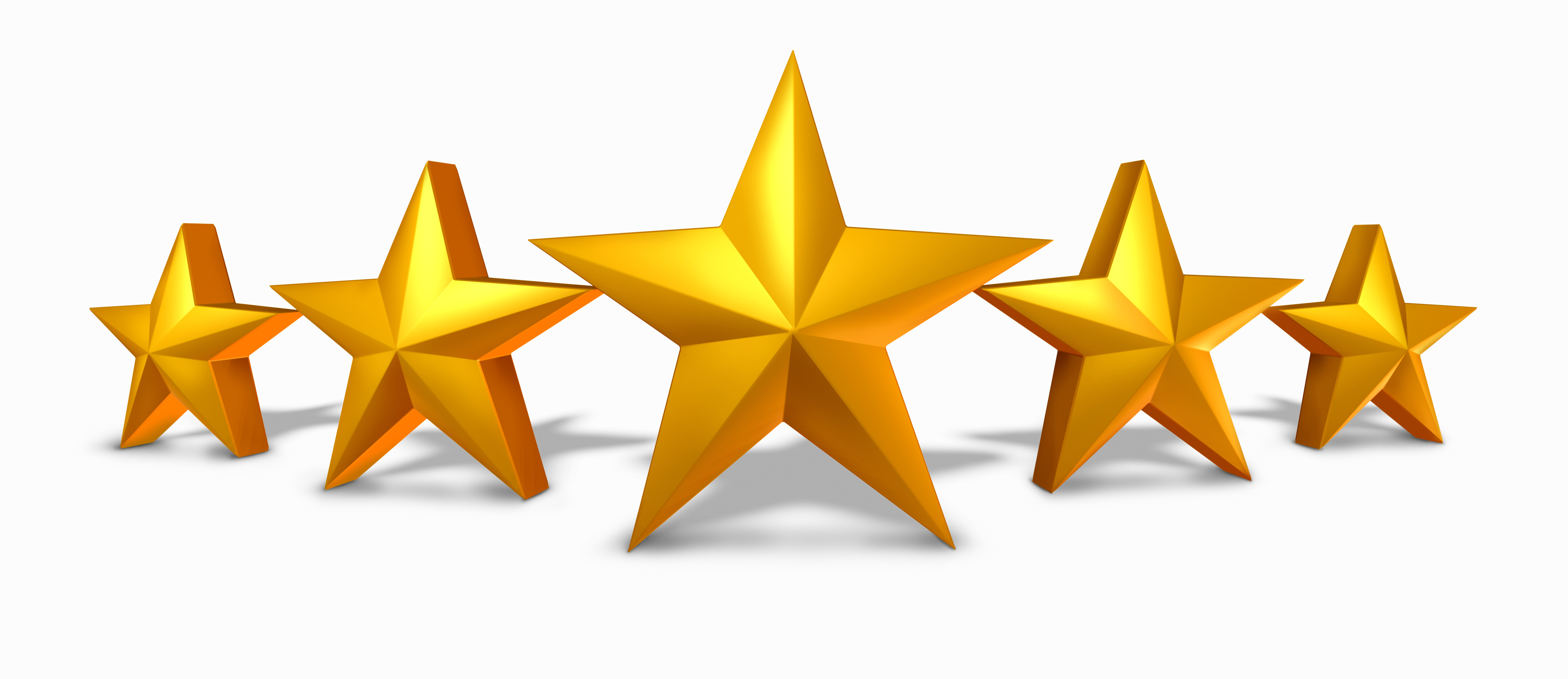 Gold star rating with five golden stars representing an award of excellence and luxury as a symbol and concept of competition success and best quality with a white background.